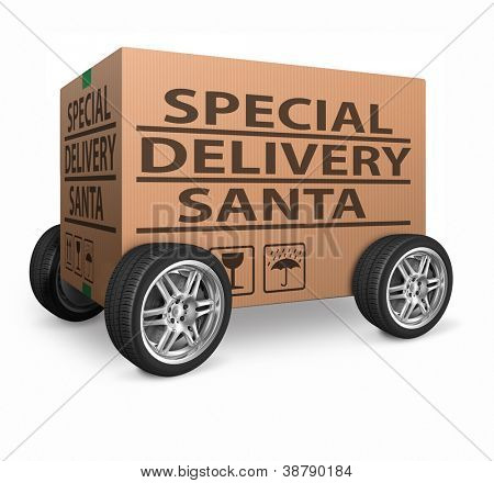 santa package special delivery for christmas present of gift surprise santa claus merry christmas shipment order santa present