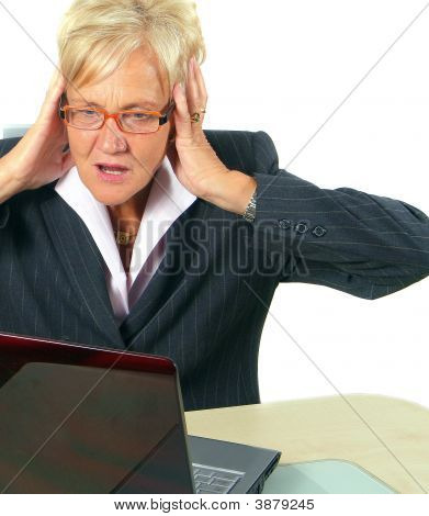 Woman In Shock In Front Of Her Laptop