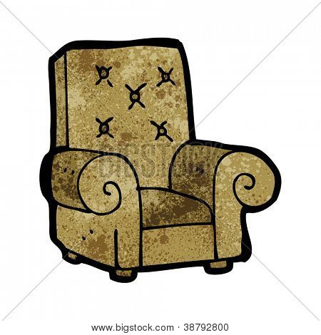 Cartoon stuffed old leather chair stock vector stock for Small stuffed chairs