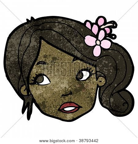 cartoon woman biting lip
