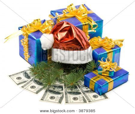 Santa\'S Red Hat, Gift Boxes And Money