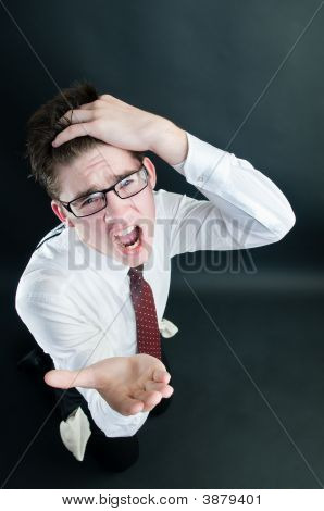 Screaming Businessman Asking For Money