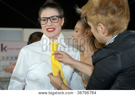 ZAGREB, CROATIA - OCTOBER 10: Fashion model prepares in backstage for Couture show by Marina Design on 'Fashion.hr' show, on October 10, 2012 in Zagreb, Croatia.
