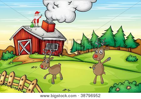 illustration of a santa claus and a reindeer in a beautiful nature