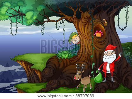 illustration of santa claus and a reindeer in a beautiful nature