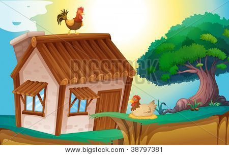 illustration of hens and a house in a beautiful nature
