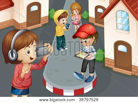 detailed illustration of kids on a road