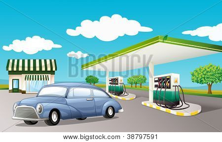 Illustration of a gas station