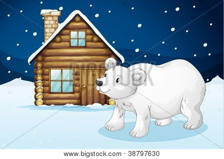 illustration of a house and a polar bear in a beautiful nature