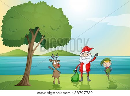 illustration of santa claus, a boy and a reindeer in a beautiful nature