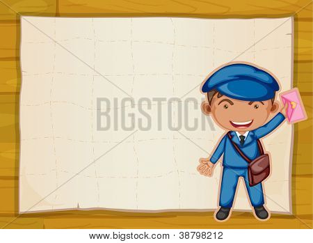 illystration of a boy holding envelop and board