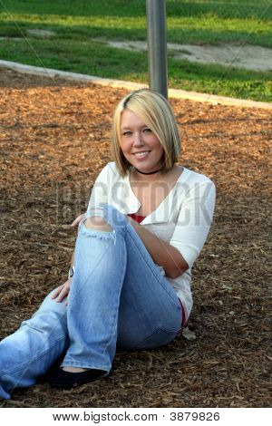 Blond On Playground Smile