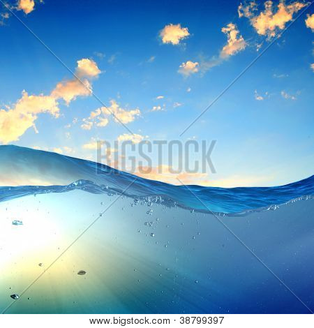 design template with underwater part and sunset skylight splitted by waterline