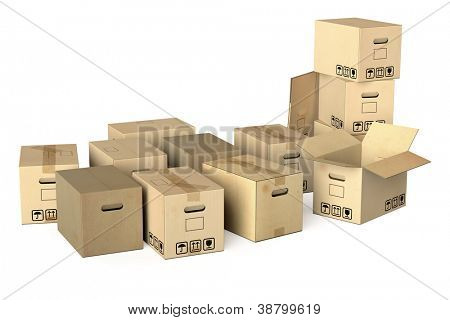 Many different moving boxes isolated on white background