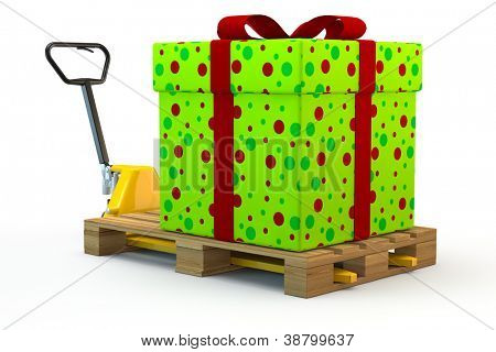 Huge colorful gift on pallet on a forklift truck