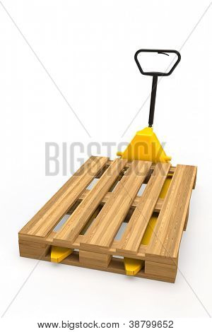 Yellow hand pallet truck with pallet in 3D