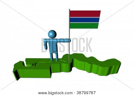 Abstract person with flag on The Gambia map illustration
