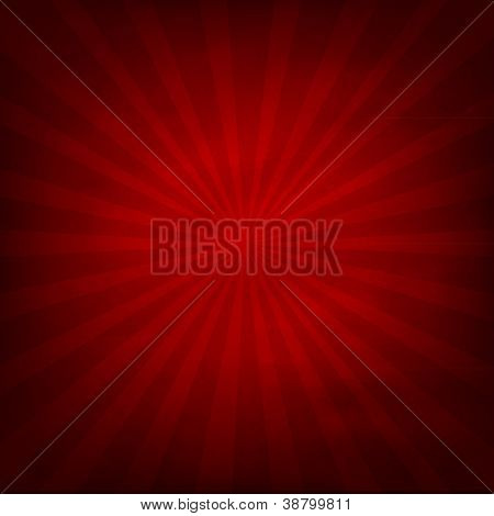 Fondo de textura rojo con Sunburst, Vector Illustration