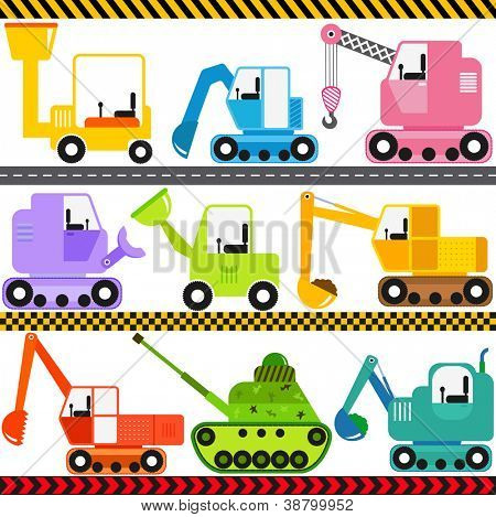 A set of cute Vector Icons : Tractor / Engineering Vehicles / Transportation