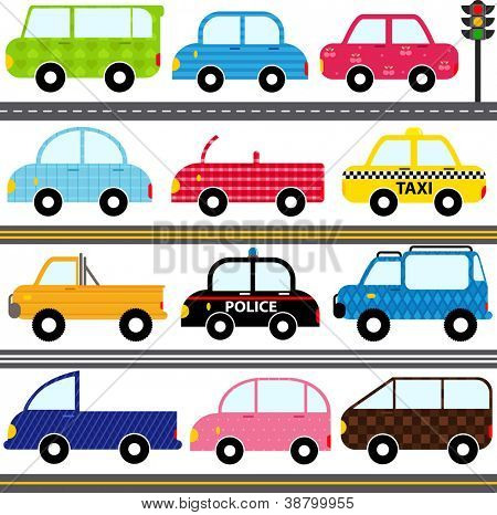 A set of cute Vector Icons : Car / Vehicles / Transportation