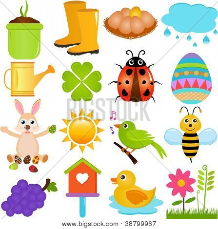 A colorful set of cute Vector Icons : Spring Season Theme, isolated on white