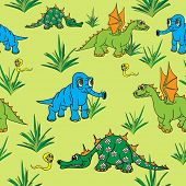 Dinosaurs walking in nature. Seamless.