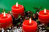stock photo of christmas lights  - christmas candles arrangement in colorful festive themes - JPG
