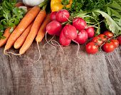 image of food crops  - Fresh vegetable on wooden table - JPG