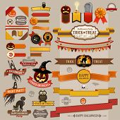 image of happy halloween  - Set of Halloween retro ribbons  - JPG