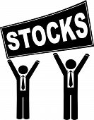 Stick Men Business Holding Sign Saying Stocks. poster