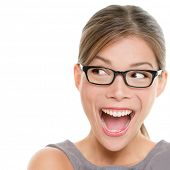 image of optical  - Excited woman looking sideways screaming of joy - JPG