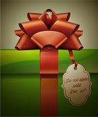 Gift box with red ribbon bow and label. Vector Illustration.