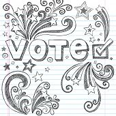 pic of election campaign  - Vote Presidential Election Back to School Style Sketchy Notebook Doodles with Stars and Swirls - JPG