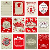 foto of scottish terrier  - Set of Vintage Christmas Tags  - JPG