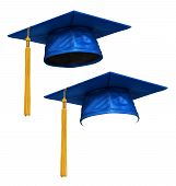 pic of eminent  - 3D render of blue graduation cap with gold tassel isolated on white background - JPG