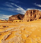 picture of algeria  - Sand dunes and rocks - JPG
