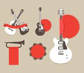 foto of stratocaster  - Vector music instruments with red ribbons and tags - JPG