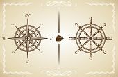 pic of rudder  - Vector Vintage Compass and Rudder - JPG