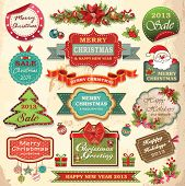 stock photo of christmas flower  - Collection of christmas ornaments and decorative elements - JPG