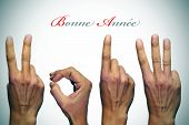 bonne annee, happy new year written in french, with hands forming number 2013