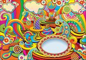 picture of hippies  - psychedelic background in a retro style - JPG