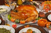 stock photo of turkey dinner  - Thanksgiving celebration and dinner - JPG