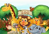 pic of tree snake  - illustration of a zoo and the animals in a beautiful nature - JPG