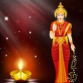 stock photo of navratri  - Illustration of Hindu goddess Laxmi - JPG