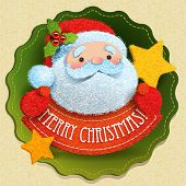Christmas card with Santa Claus and Merry Christmas lettering. Vector illustration.