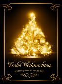 stock photo of weihnachten  - Warmly sparkling Christmas tree light effects on dark brown background with the text  - JPG