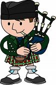stock photo of bagpiper  - Illustration of male Scottish bagpiper playing bagpipes - JPG