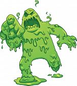 stock photo of radioactive  - Cartoon toxic monster - JPG