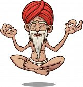 stock photo of guru  - Cartoon floating guru - JPG