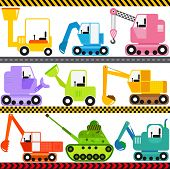 stock photo of backhoe  - A set of cute Vector Icons  - JPG